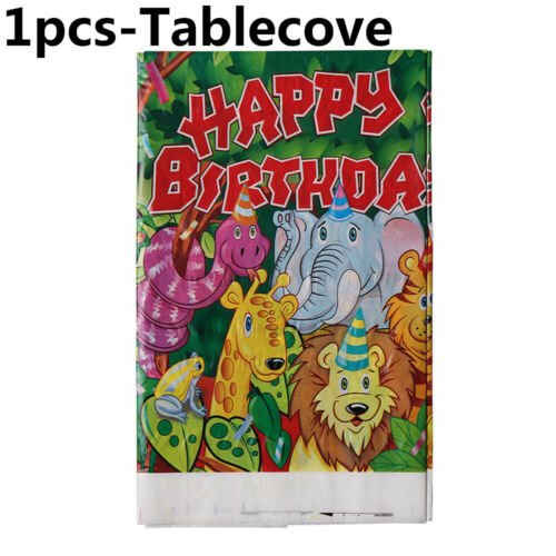 2019 New Safari Animal Theme Banners Invitation Cards Tablecloth Tableware Decor