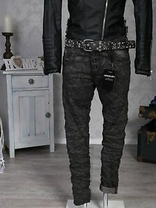 Lexxury-Italy-Style-Jeans-Hosen-Boyfriend-Baggy-Knoepfe-grau-camouflage-Neu-XS-XL