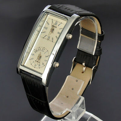 SOKI Womens Beige Dial Double Timezone Analog Quartz Casual Leather Band Watch