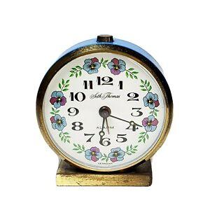 Vintage-Seth-Thomas-Small-Alarm-Clock-Wind-Up-Blue-Metal-Brass-Base-Germany