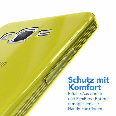 Ultra Slim Cover für Galaxy Grand Prime Case Silikon Hülle Transparent Gelb