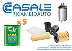 Kit-Tagliando-Fiat-Bravo-1-6-Cc1598-4-Filtri-5L-Olio-SELENIA-WR-5w30-Da-Italia