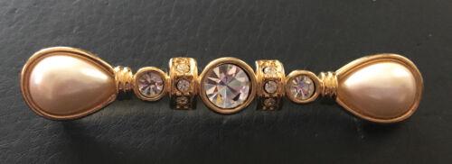 Monet Long Crystal Rhinestone, Pear Pearl & Gold … - image 1