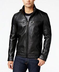 Michael-Kors-Mens-Black-Faux-Leather-Perforated-Moto-Jacket-Size-XXL-2XL