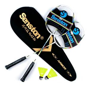 Senston 2 Pieces Carbon Alloy Badminton Set lightweight 100/% Graphite Shaft 2