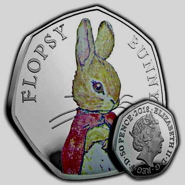 BEATRIX POTTER FLOPSY BUNNY SILVER PROOF 50p COIN 2018 RARE COLLECTABLE BUY NOW*
