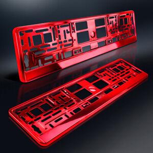 2-Kennzeichenhalter-ROT-Metallic-Hochglanz-Chrom-Look-Nummernschildhalter