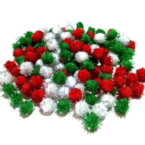 Glitter Tinsel Pom Poms 15mm Red White Green or Assorted Christmas Pompom Packs