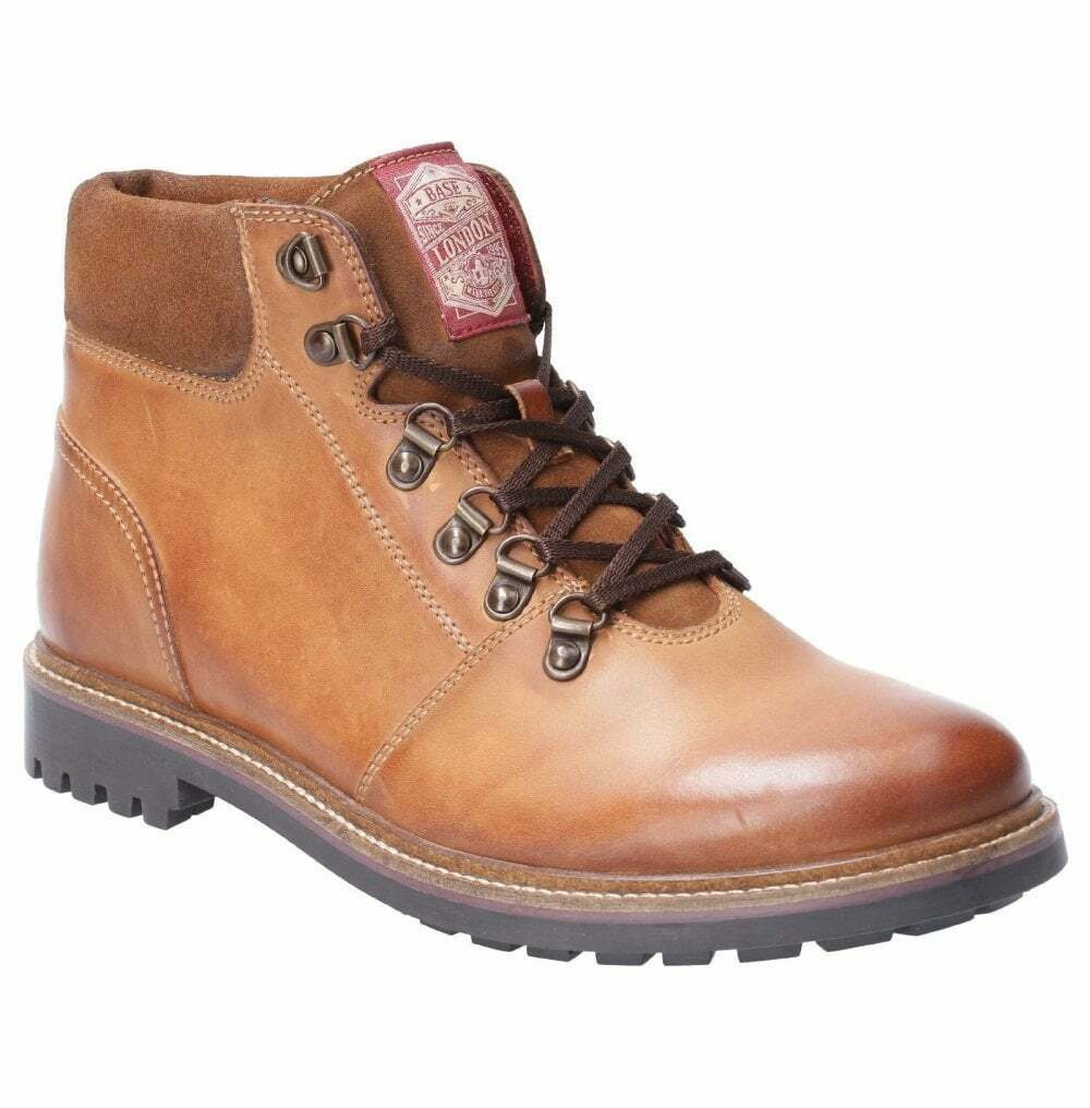 Base London Fawn tan leather mens hiking Stiefel