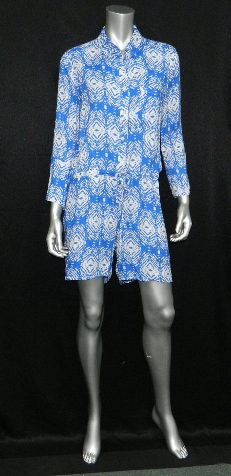 FELICITE' NEW bluee Print 3 4 Sleeve Button Front Tie Waist Shorts Romper sz 2