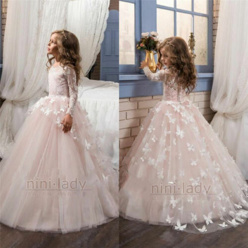 Flower Girl Dresses Pageant Kids Birthday Wedding Bridesmaid Formal Party Gown