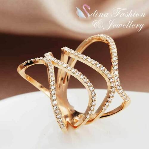 18K Rose Gold Plated Simulated Diamond Charming Hollow-out Spiral Band Ring