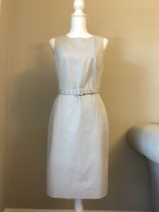 1832cb12 New J Crew Belted Sheath Dress in Two-way Stretch Cotton Cloud Gray ...
