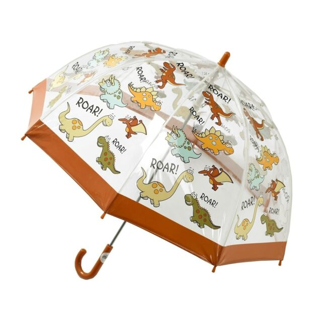 Bugzz Kids Dino Dome Brolly Childrens / Childs Clear PVC Fun Dinosaur Umbrella