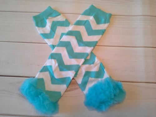 baby girl leg warmers infant child turquoise chevron with chiffon