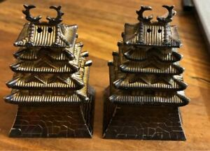 Fine-Pair-Sterling-Silver-950-Pagoda-Salt-amp-Pepper-Shakers-Japan-1900s