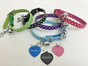 Polka-Dot-Pet-Cat-kitten-Collar-PU-Leather-Bling-Rhinestone-Cat-engraved-ID-Tag