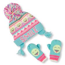 Toddler Girls 'Smile' Emoji Fair Isle Print Hat And Mittens Set size (2-3T)
