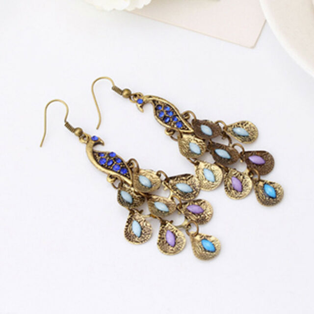 Women Retro Brown Fashion Boho Style Rhinestone Peacock Drop Earrings