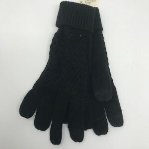 A-New-Day-One-Size-Womens-Gloves-Black-Knit-Touchscreen-Compatible