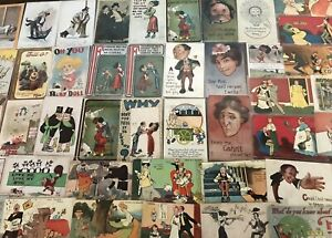 Estate-Lot-of-51-old-Early-1900-039-s-Comic-Funny-Postcards-Some-Artist-Signed-s559
