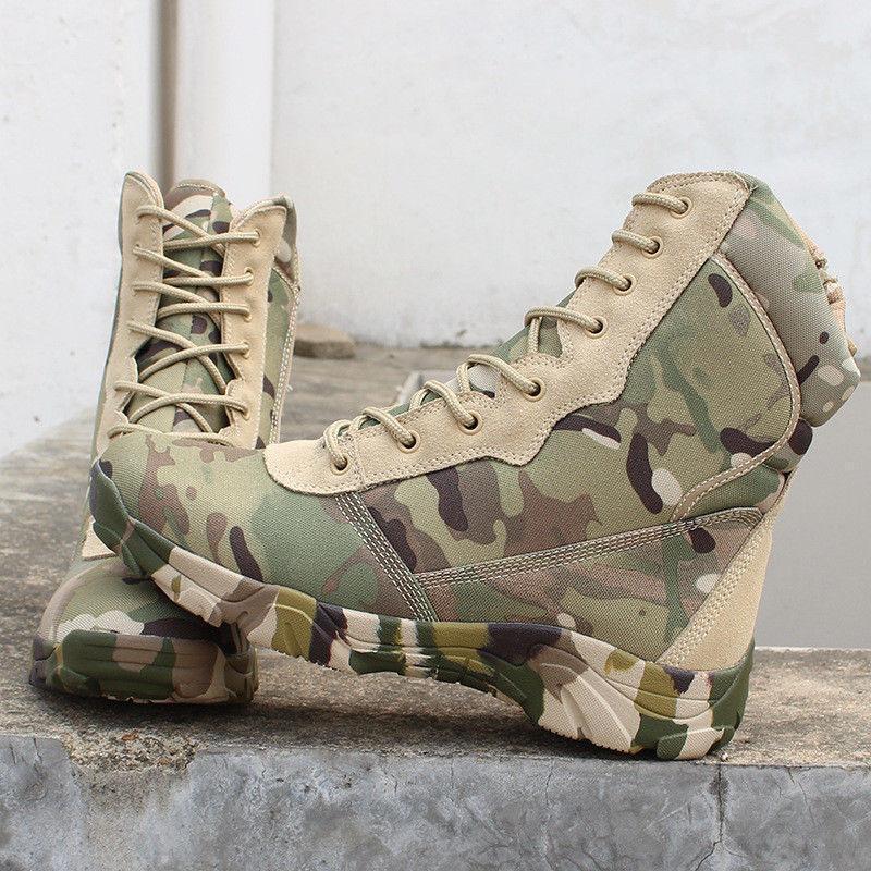 Men Spring Outdoor Camo HighTop Combat Boot Military Waterproof Stylish shoe New