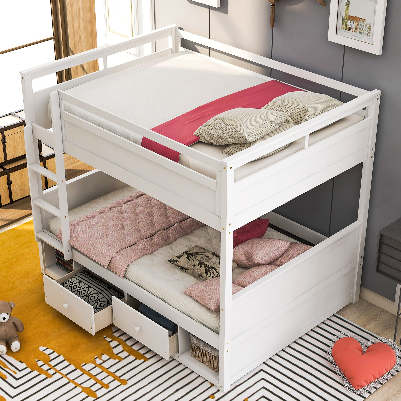 Metal Full Over Full Bunk Bed With Straight Rounded Legs White Full For Sale Online Ebay