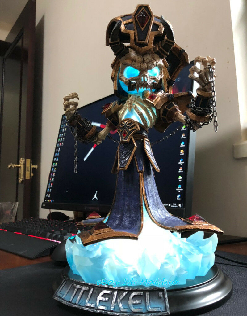 World of Warcraft Kel'Thuzad Figurine Lich King Statue Lighting Lighting Lighting WOW Resin Model 08192b