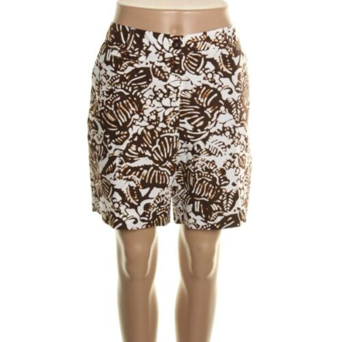 Jones New York Brown /& White Floral Printed Cotton Casual Shorts NEW