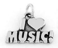 STERLING SILVER I LOVE MUSIC CHARM/PENDANT