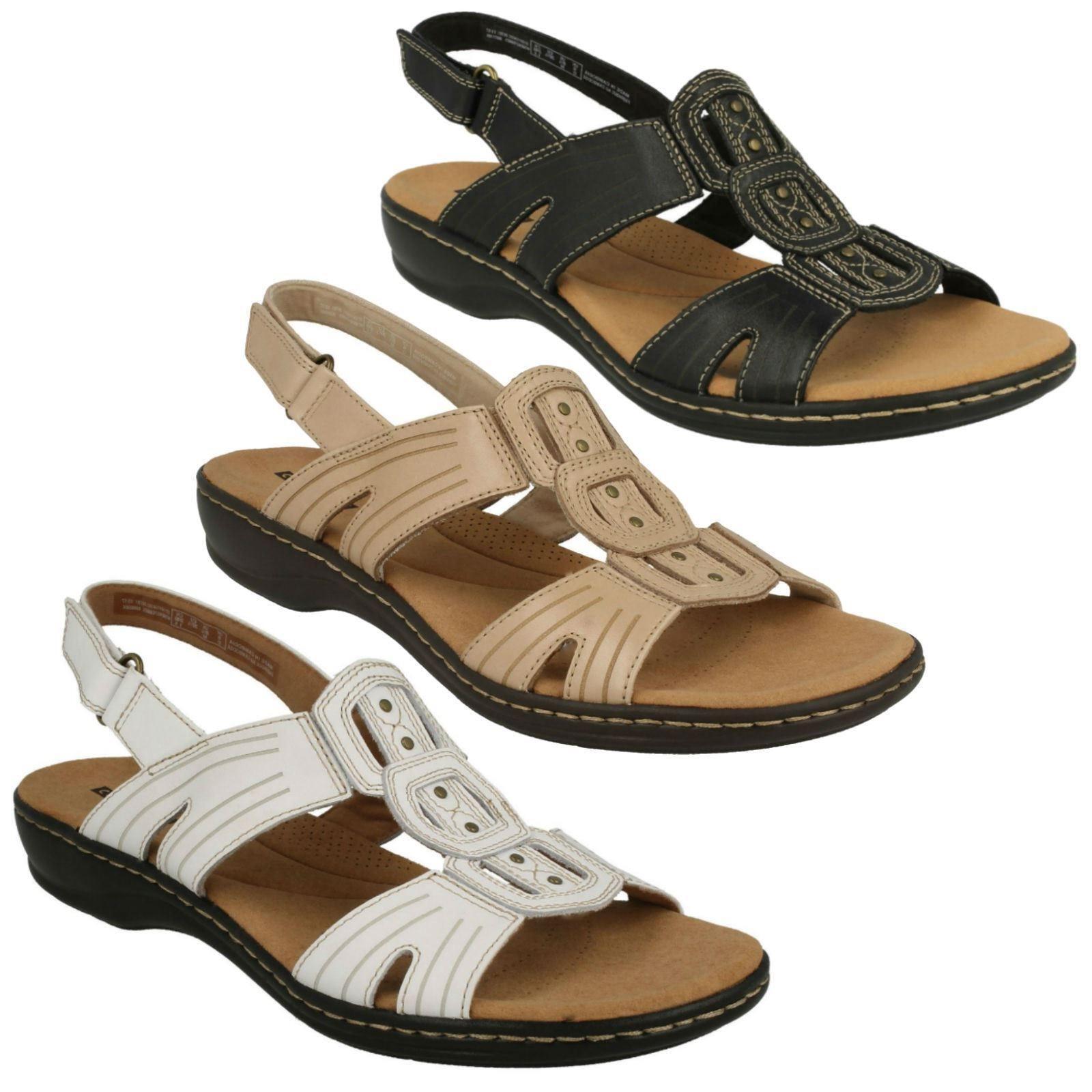 Damas Clarks 'Vid Cuero Charol Puntera Abierta Informal Sandalia Zapatos Talla