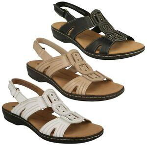donna CLARKS PELLE APERTURA SUL RETRO open toe sandali casual modello LEISA
