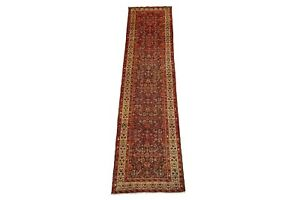 Persian-3X14-Herati-Malayer-Antique-1930-039-s-Runner-Hand-Knotted-Abrash-Wool-Rug