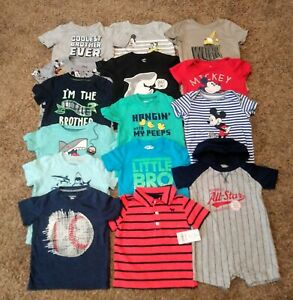 Baby Boy 18 Months Lot Of 15 Shirts Tees Bodysuits Boys Clothes Size 18 Mo Ebay
