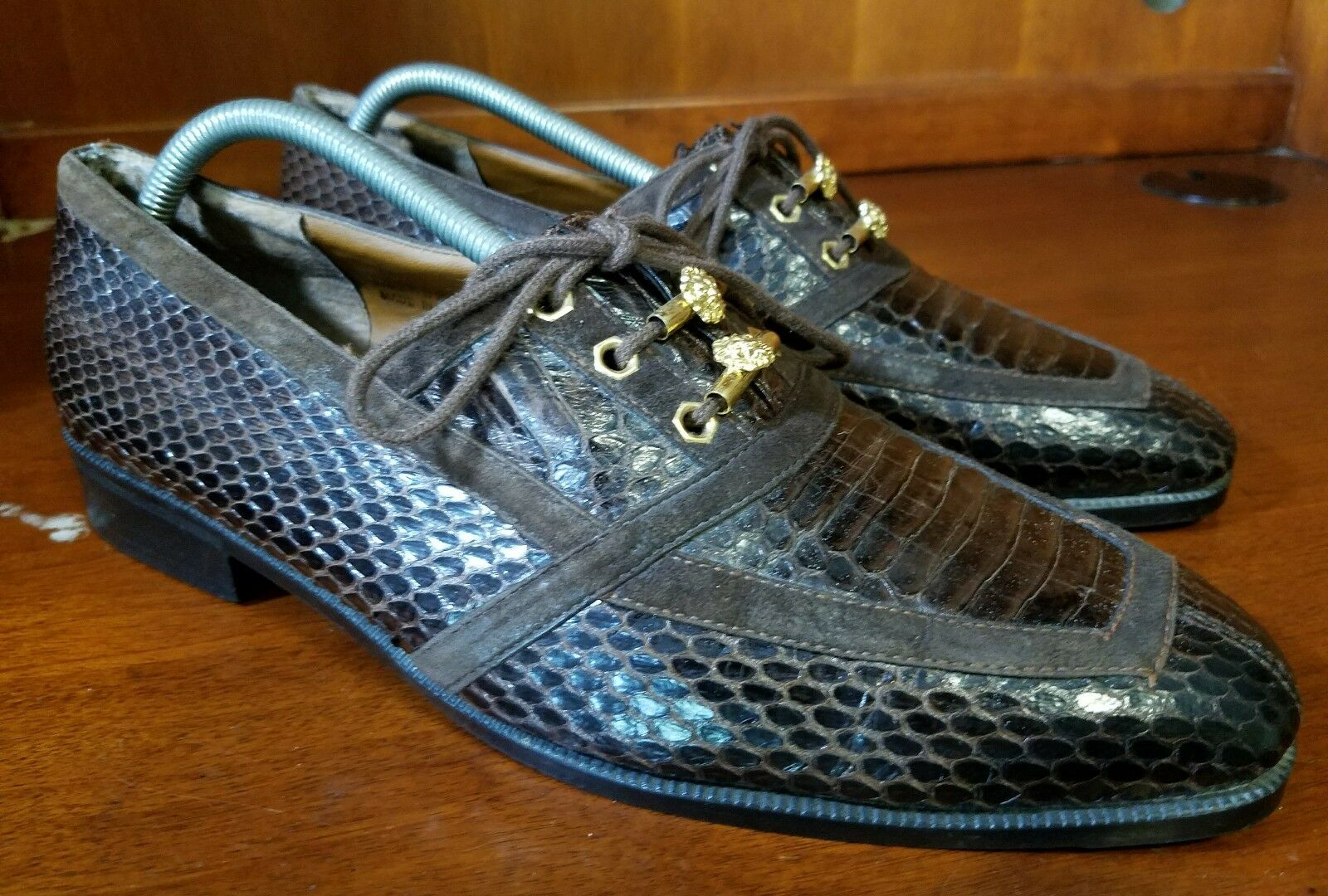 Uomo Giorgio Brutini Brown Genuine Snake Skin Oxford Golden Detail Shoes Size 9 M