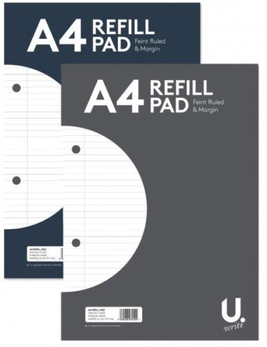 A4 REFILL PAD 160 PAGE RULED PLAIN STUDENT SCHOOL OFFICE STATIONARY 54gsm PAPER