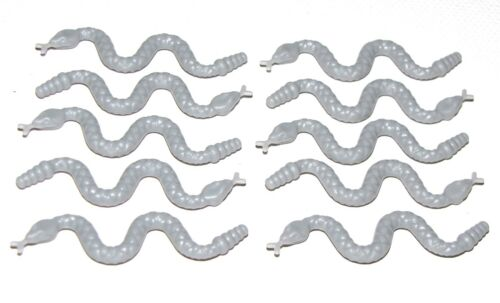 LEGO LOT OF 10 NEW LIGHT BLUISH GREY SNAKES ANIMALS REPTILES PIECES PARTS