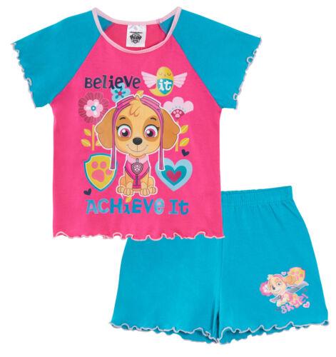Girls Skye Paw Patrol Short Pyjamas Kids Character Summer Shortie Pjs Set Size