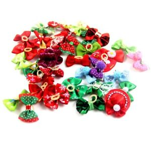 10Pcs-Dog-Cat-Hair-Bows-W-Rubber-Bands-Pet-Puppy-Bowknots-Grooming-Accessories