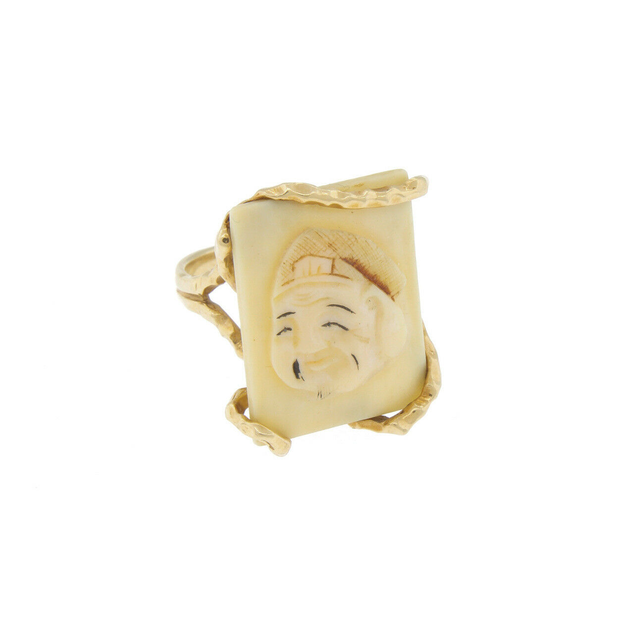 Vintage 14k gold Carved Japanese God of Wealth Ring Size 6 Polychrome Export