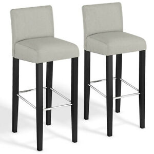 Remarkable Details About Set Of 2 Fabric Bar Stool Pub Chair Bar Height Padded Seat Solid Wood Legs New Machost Co Dining Chair Design Ideas Machostcouk