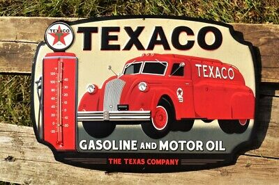 Texaco Motor Oil Can Embossed Tin Metal Sign The Texas Company Gasoline