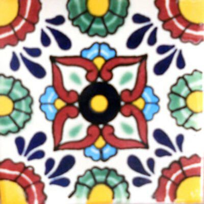 GET MANY AS YOU NEED !! #C072 Mexican Tile sample Ceramic Handmade 4x4 inch