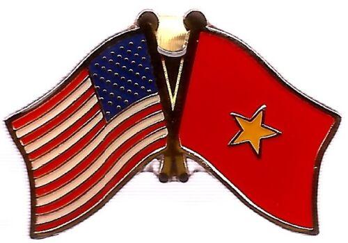 LOT OF 3 Vietnam Friendship Flag Lapel Pins Vietnam Crossed Flag Pin