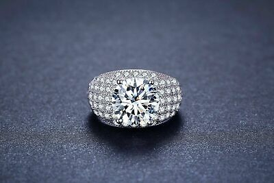 Bescheiden Damen Ring 925 Sterling Silber Zirkonia Aaa 3,5 Ct Rhodiniert 18 K Weißgold Verg