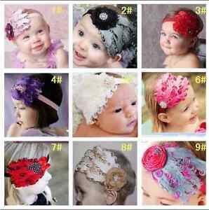 Cotone Ragazze Bambino Rosa e Fiore Cerchietto Hairband Fiocco UK Venditore  </span>