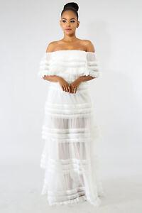 White Tulle Maxi Dress