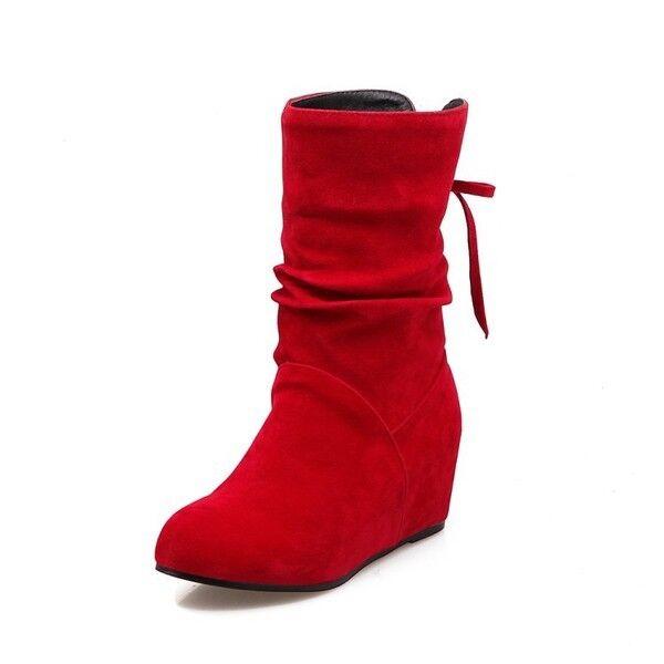 botas bajo zapatos cuña 5 cm rojo cómodo cómodo como piel 9790