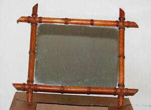 Miroir vintage bois style bambou 60s faux bamboo Vintage French Mirror 46x55cm