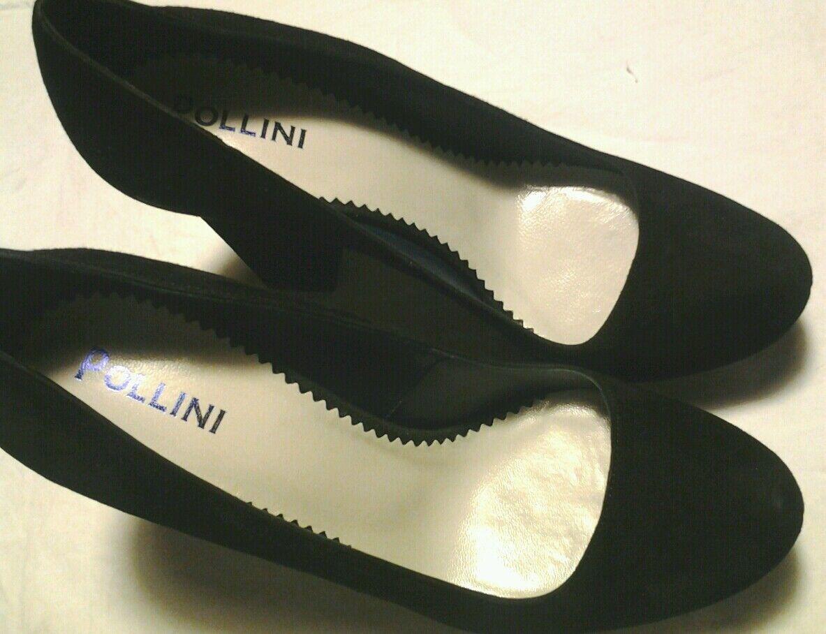 Scarpe nero decollete con tacco camoscio nero Scarpe n.38 nuove Pollini 90754a